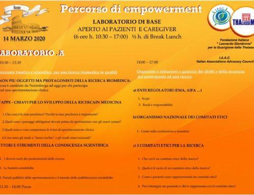 I laboratori di Empowerment previsti per marzo sono rinviati a data da destinarsi